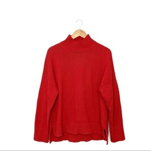 Everlane Cotton Red Turtleneck High Low Sweater